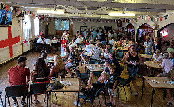 Mayfield Beer Festival crowd watches World Cup